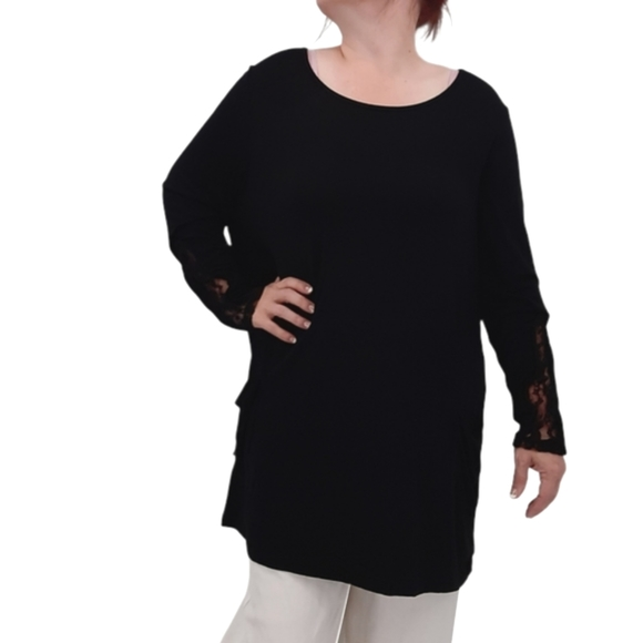 Logo by Lori Goldstein Solid Black Lace Inset Sleeves Stretch Tunic Top 1X